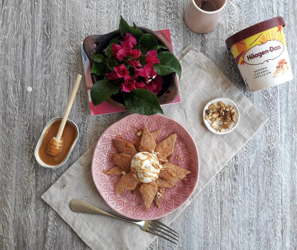 Τραγανές τορτίγιες με παγωτό Banana Caramel Explosion Häagen-Dazs-παγωτό-τορτίγια-μεξικάνικο