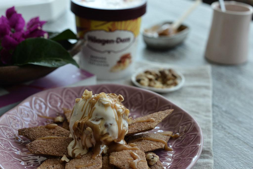 Τραγανές τορτίγιες με παγωτό Banana Caramel Explosion Häagen-Dazs -icecream-tortilla-mexican