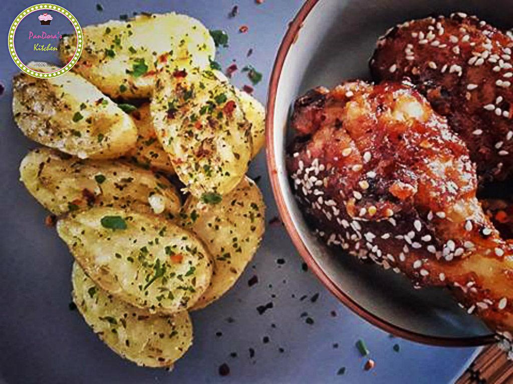 bbq-chicken-chinese food-baby potatoes-pandoras kitchen