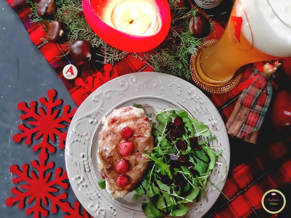 γεμιστό κοτόπουλο-κοτόπουλο-χριστουγεννιάτικο τραπέζι-μπύρα-άλφα