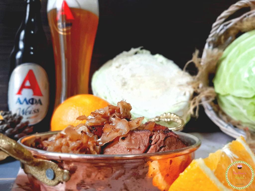 τηγανιτό λάχανο με απάκι Κρήτης-μπύρα-ΑΛΦΑ-συνταγές_με_μπύρα